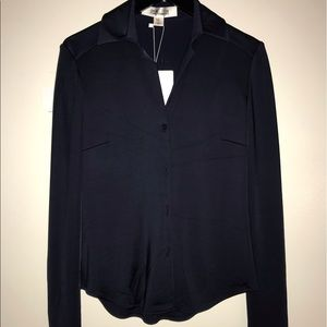 DVF fitted shirt long sleeve navy